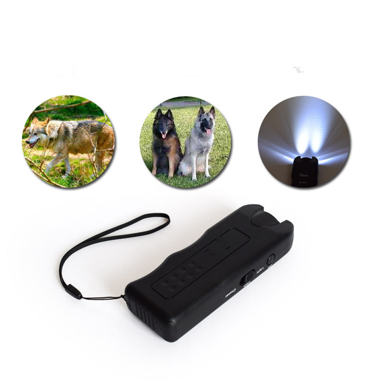 Ultrasonic Dog Chaser Away Self Defense Safety Wolf Stops Aggressive Animal Attacks Deterrent Repeller Defence Flashlight Stick