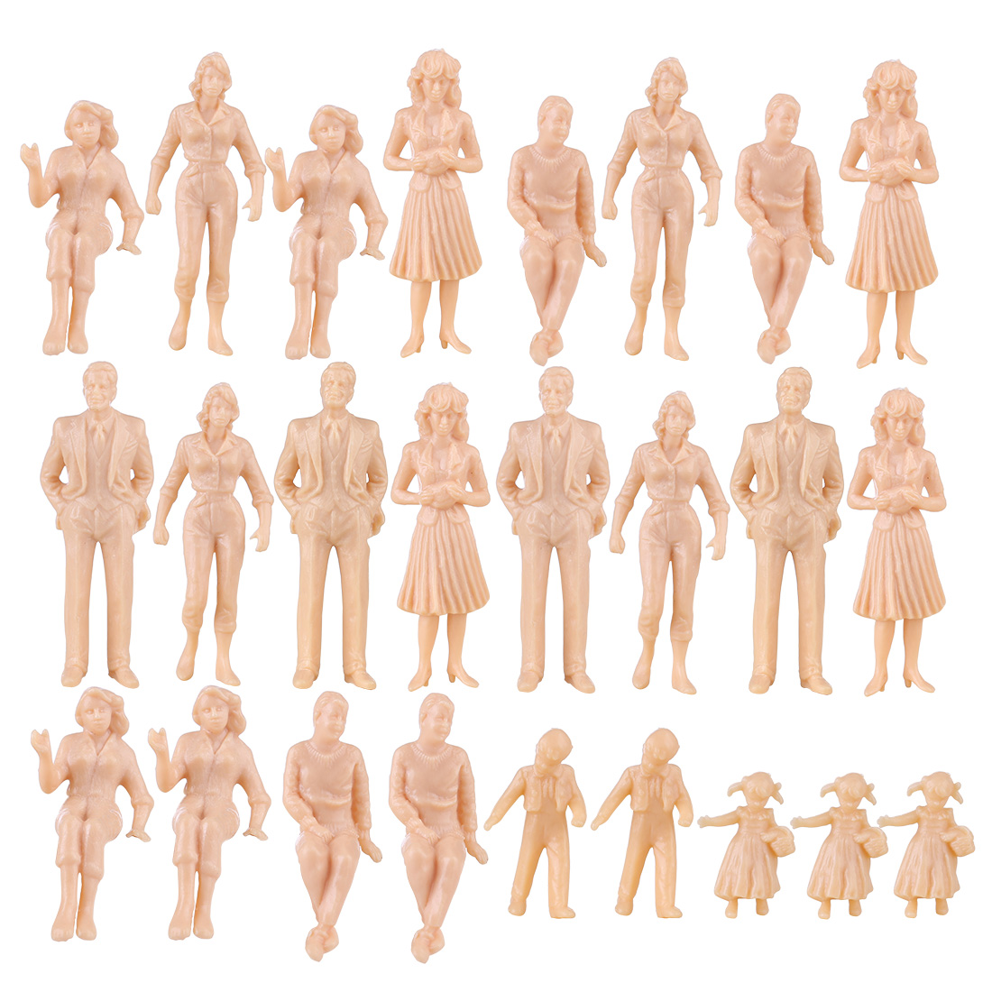 25Pcs 1:25 Scale Miniature People Figures Model For Train Railway Alloy RC Car Sand Table Toy For Kid Children-Skin(Random Type)