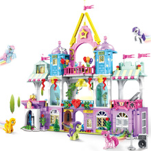 Toys for Children Pony Friendship Magic Academy Model Kit Girls Educational Castle Assembling Building Block Brick Kids Gift T25