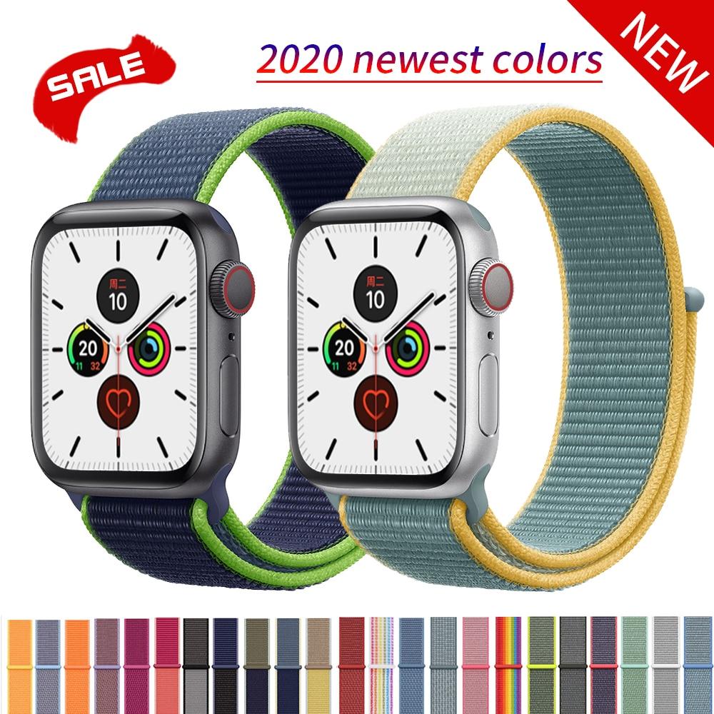 Nylon Sport Loop Strap For Apple Watch Band 42mm 44mm 40mm 38mm IWatch 5/4/3/2/1 Bracelet  Wrist Watchband Accessories