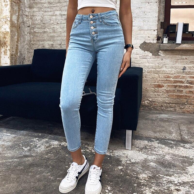 Stretch High Waist Jeans Women 2020 New Skinny Slim Fashion Washed Denim Pencil Pants Plastic Waist Lifting Ninth Pants