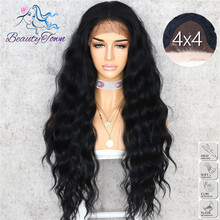BeautyTown Black Color Body Wavy Silk Hair Halloween Holiday Women Wedding Party Daily Makeup Present Synthetic Lace Wigs