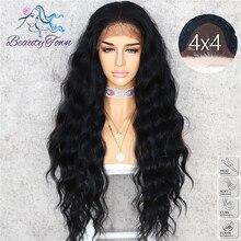 BeautyTown Peluca de pelo de seda ondulado para mujer, cuerpo de Color negro, para Halloween, vacaciones, fiesta de boda, maquillaje diario, encaje sintético