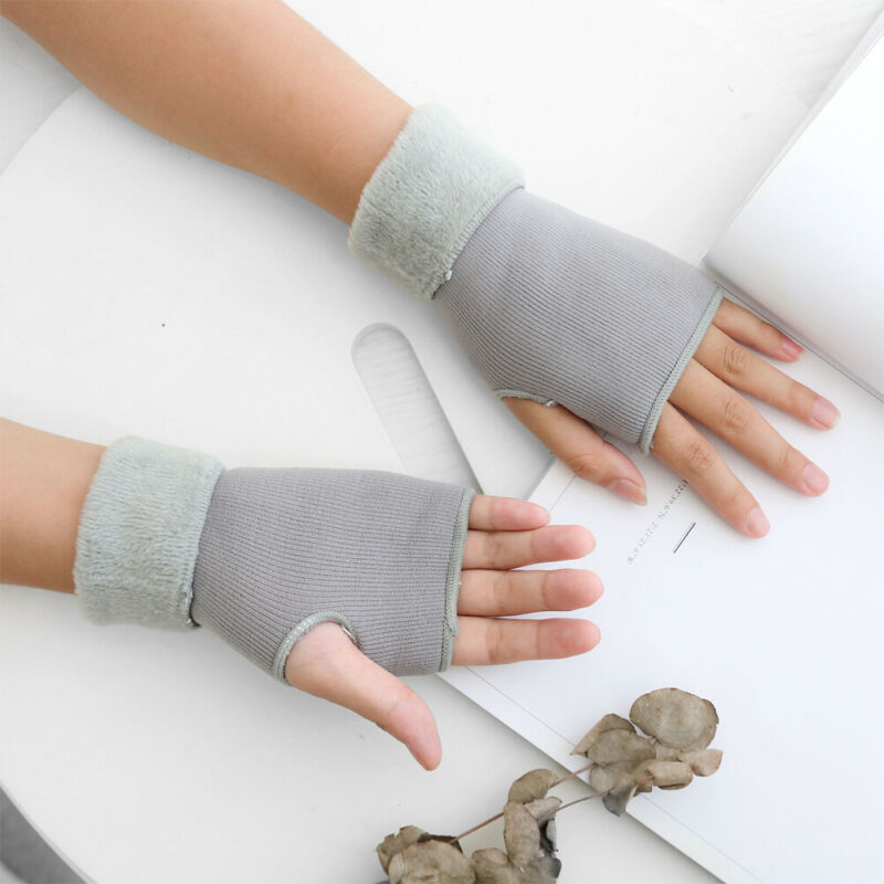 Fashion Solid Color Women Winter Half Finger/Fingerless Gloves Wrist Arm Hand Warmer Knitted Mittens Finger Mitt