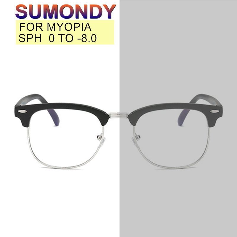SUMONDY SPH 0 To -8.0 Photochromic Myopia Glasses Customized Men Women Anti Blue Ray Prescription Spectacles Shortsighted UP005