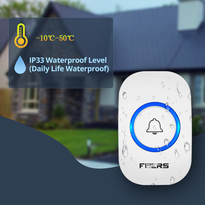 Image 2 - Fuers Home Wireless Doorbell Welcome Chime Doorbell Alarm 32 Songs Store Smart Doorbell EU UK US Plug Cordless Waterproof Button-in Sensor & Detector from Security & Protection