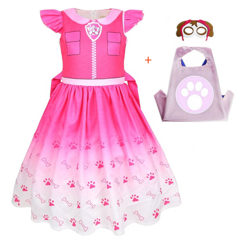 Kids Dresses For Girls Patrol Dog Halloween Cosplay Costumes Mascot Chase Dog Children Carnival Party Role Play Clothes For Girl