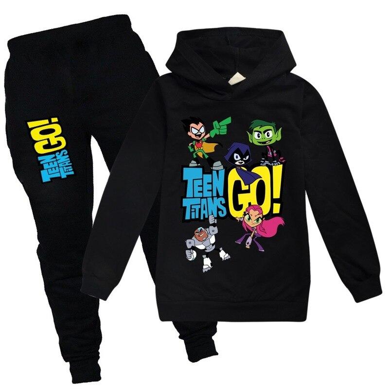 HOT Boys girls Sweatshirt Teening Titans GO Kids Hoodies spring Autumn Clothes Long Sleeve Cartoon Top Tees Children Clothing