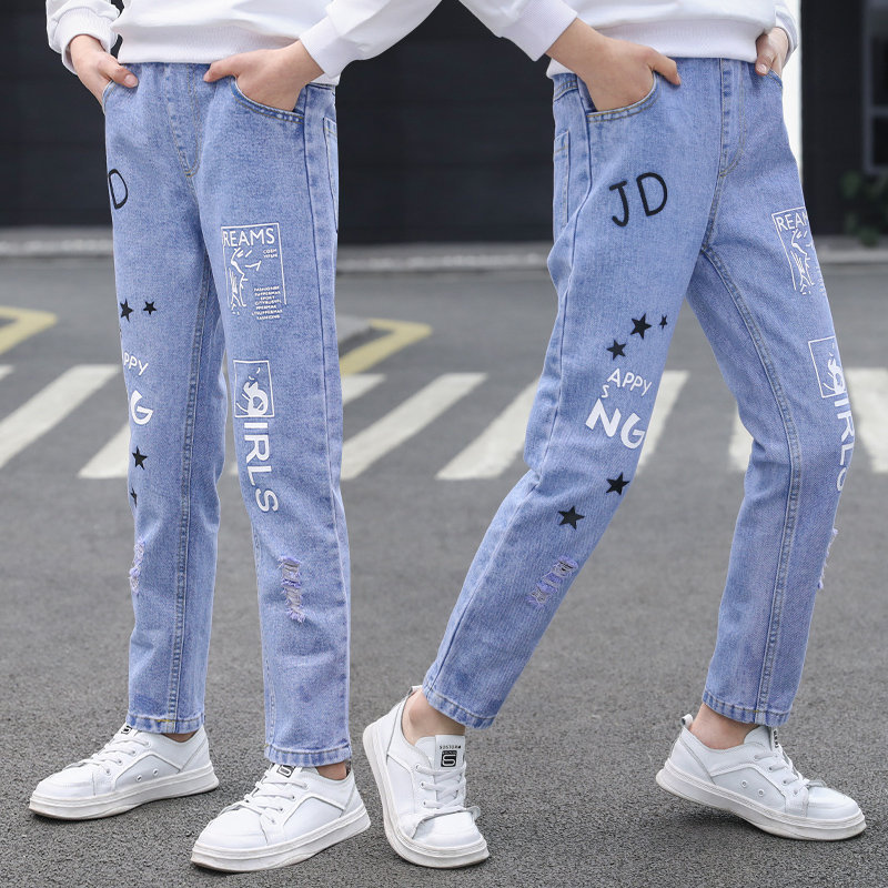 Kids Denim Trousers Children's Clothing Casual Fashion Slim Jeans With Star Letter Print Ripped Pants for Teen Girls 4 To 14Yrs