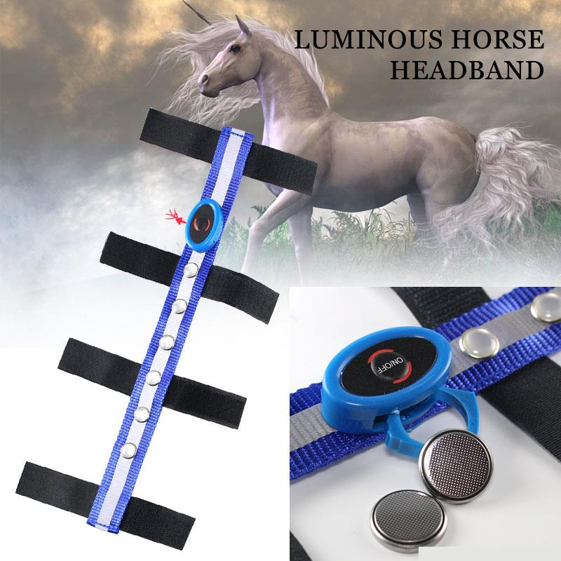 Horse Reins Horse Head Straps LED Outdoor Blue Polyester Tournament Horseman Equestrian Reins Sports