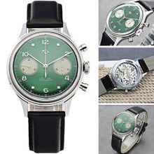 2020 verde 1963 cronógrafo masculino 1901 movimento gaivota gooseneck acrílico relógio 38mm militar do exército relógio mecânico pilotos