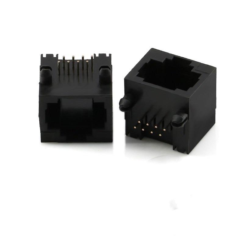 10pcs RJ45 8P8C Black Computer Internet Network PCB Jack Socket