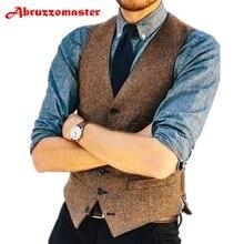 Brown Groom Suit Vests Herringbone Groomsmens Vest Custom Made Man Waistcoat Suit Waistcoat Brown Herringbone Man Top