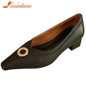 Karinluna New Fashion Genuine Cow Leather Chunky Heels Elegant Pumps Woman Shoes Slip On Metal Decoration Shoes Women Pumps