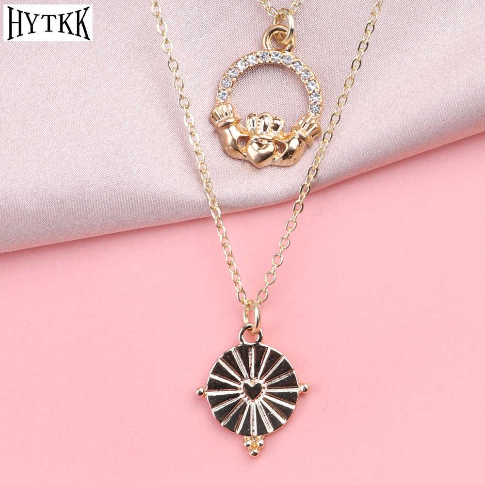 Boêmio minimalismo amor coroa olhos lua estrelas folhas acrílico jóias duplo pingente colar coreano acessórios femininos