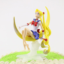 1/6 pcs/set Cute Cartoon Anime Sailor Moon Tsukino Usagi Action Figure Long Hair Wings Cake Decoration Collection Model Toy Gift цена