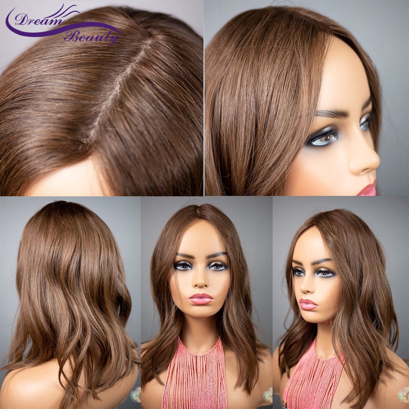 PU Silk Base Wigs Remy Brazilian 4x4 Human Hair Wigs Wavy Brown Color Glueless Wigs 180 Density Skin Looking Like Human Scalp