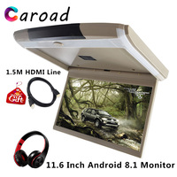 Caroad Car Screen 11.6 Inch Android 8.1 HD 1080P Roof Mount Monitor Built in WIFI/HDMI/USB/SD/FM/Bluetooth/Speaker/Game MP5