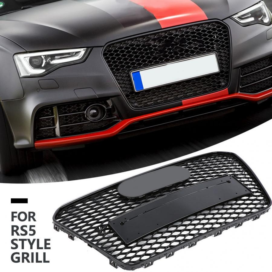 RS5 Style Front Hex Bumper Mesh Honeycomb Hood Grill For Audi A5//S5 B8 08-12