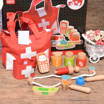 цена на New children's wooden simulation medicine box doctor toy set nurse injection tool role play doctor set recruitment doctor