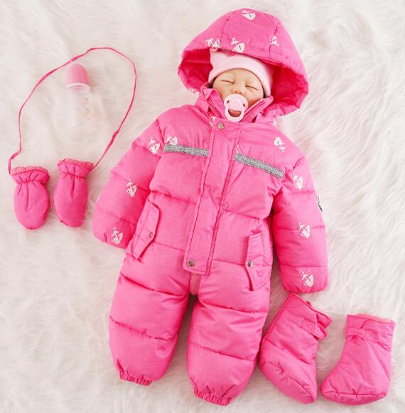 Newborn baby Romper Winter out warm down jackets Baby cotton clothes with feet winter clothes