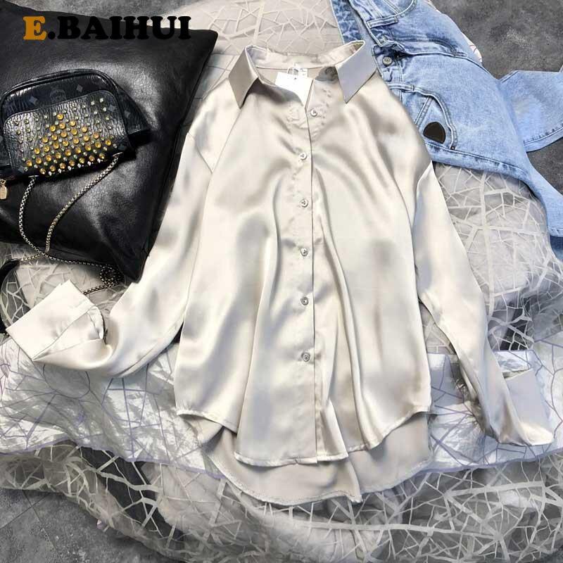 Objective Ebaihui Autumn Fashion Button Up Satin Silk Shirt Vintage Blouse Women White Lady Long Sleeves Female Loose Street Shirts L1446