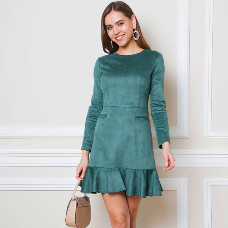 Women Casual Ruffles Sheath Mini Dress Ladies O Neck Long Sleeve Elegant Party Dress 2019 Autumn Winter Vintage Women Dresses