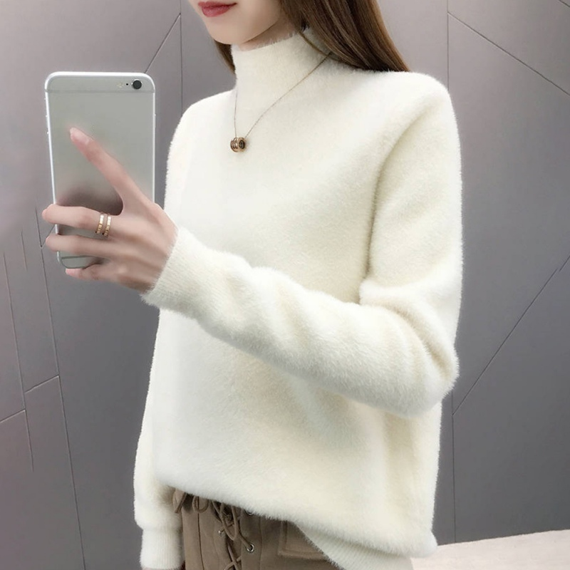 Women Autumn Winter Turtleneck Long Sleeved Half High Collar Pullover Mink Hair Knitted Sweater Tops Black White Purple