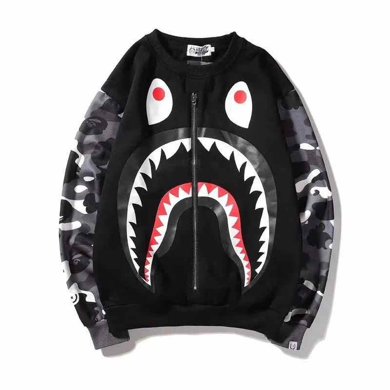 Huapate camouflage requin pantalon marée marque ample hiver couple costume pantalons décontractés imprimé à capuche camouflage