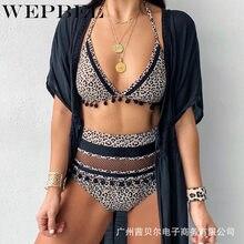 Verão feminino conjunto de biquíni cinta espaguete colheita superior cintura alta banho leopardo impressão duas peças push up maiô