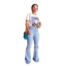 Брюки расклешенные джинсы модные Nova женские джинсы Рваные джинсовые винтажные длинные брюки женские модные Клубные длинные джинсовые повседневные штаны, брюки