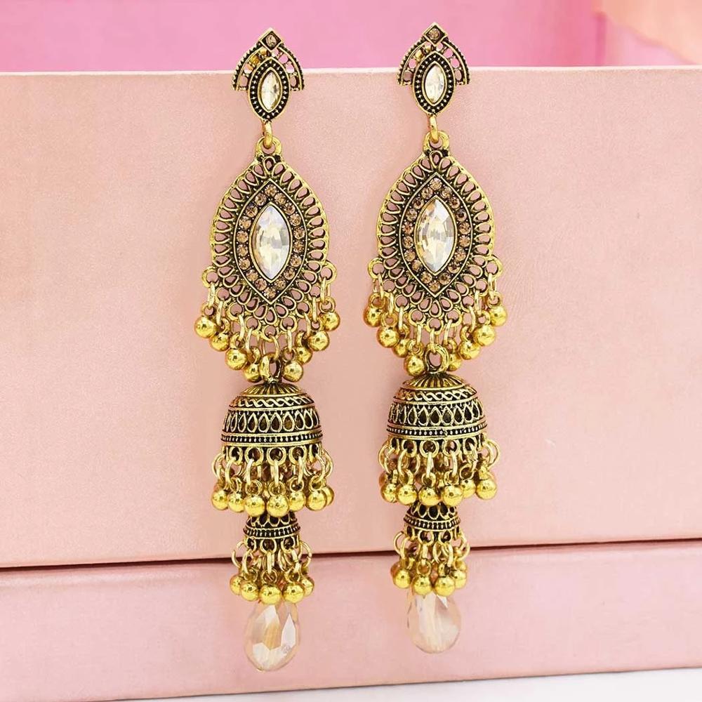 Indian Color Blanco Perla y Multi Oxidado Grande Pendientes De Oro Jhumka Joyería Mujeres