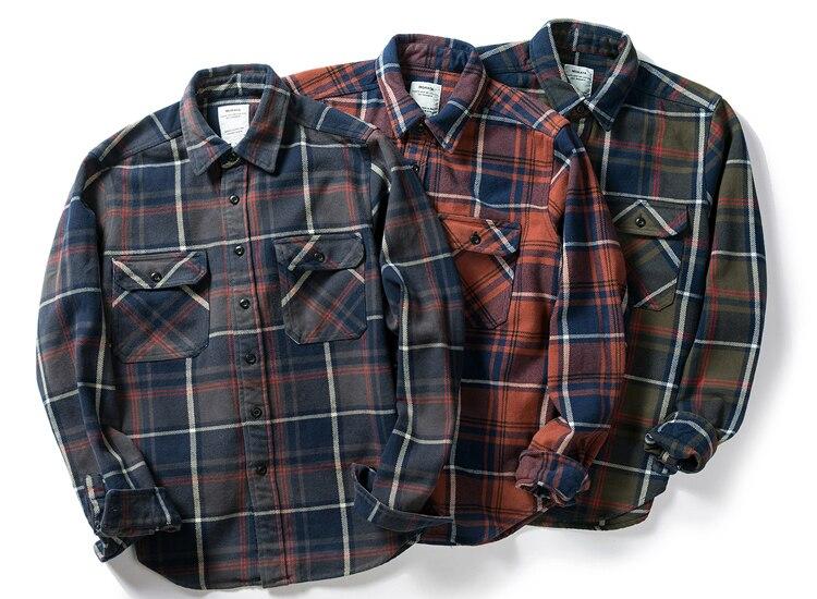 H02e12a59a50b471a89fbc8e06ef4f9b01 100% cotton heavy weight retro vintage classic red black spring autumn winter long sleeve plaid shirt for men women