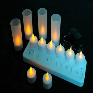 Image 2 - 12 pcs LED 충전식 Flameless 차 빛 촛불 세트 전기 votives waxless 안전 로맨틱 생일 웨딩 교회 바 장식