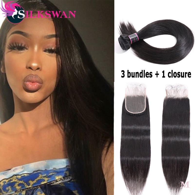 Silkswan Hair Human Hair Bundles With Closure Brazilian Hair Extensions Swiss Lace Closure 4pcs Straight Remy Hair For Women