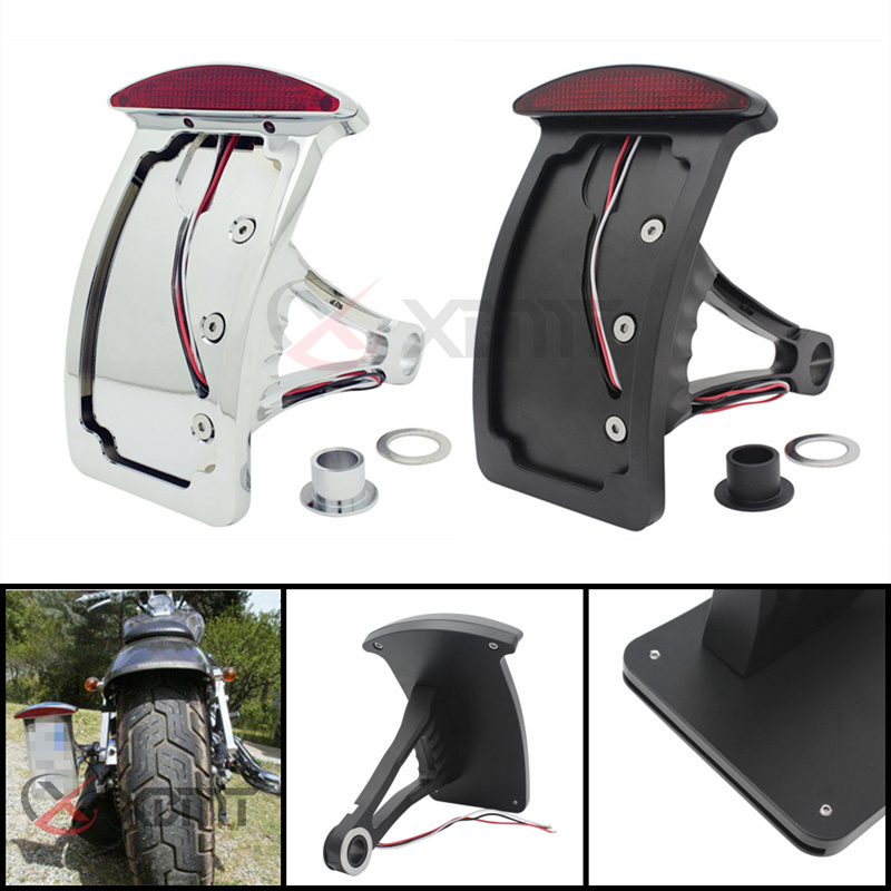 Black Motorcycle Side Mount License Plate Axle Bracket Tail Light for Harley MT