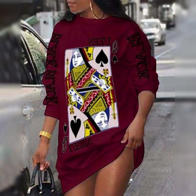 2021 Ladies Loungewear Round Neck Poker Letter Print Long Sleeve Plus Size Women Clothing Street Style Winter Casual Dresses 5