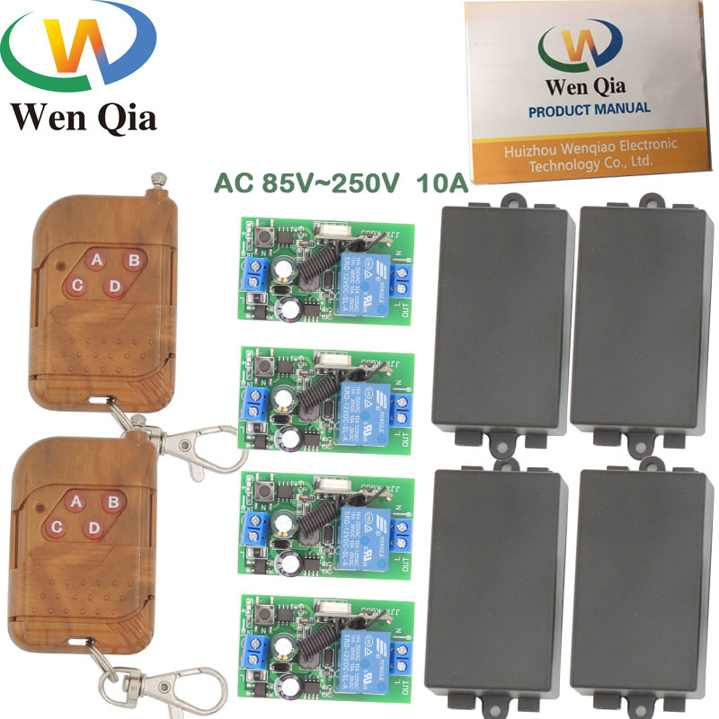 433MHz Universal Wireless Remote AC 110V 220V 1CH <font><b>4</b></font> gangs rf Relay and Transmitter Remote Control gate/Light/Fan/Home appliance image