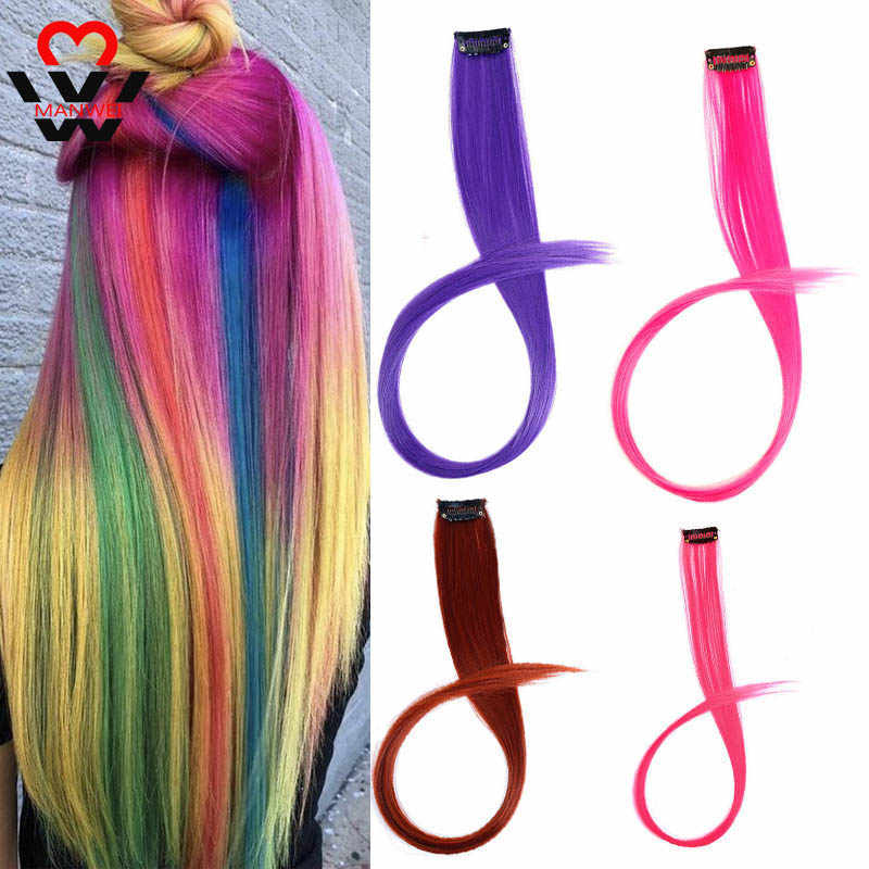 MANWEI uzun 20 inç saç renkli klip sentetik saç uzantıları ısıya dayanıklı iplik parti vurgular çoklu renkler
