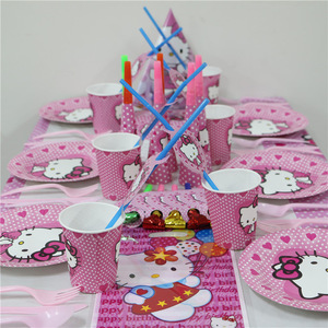 For 10 People Baby Boy Adult Birthday Party Supplies Hello Kitty Party Decoration Sets Paper Garland Cups baby Shower(China)