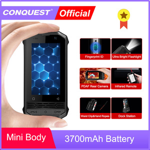 CONQUEST F2 Mini IP68 Waterproof NFC Rugged Mobile Phone celular Fingerprint Android LTE Cheap Cell phone Cellphone Smartphone