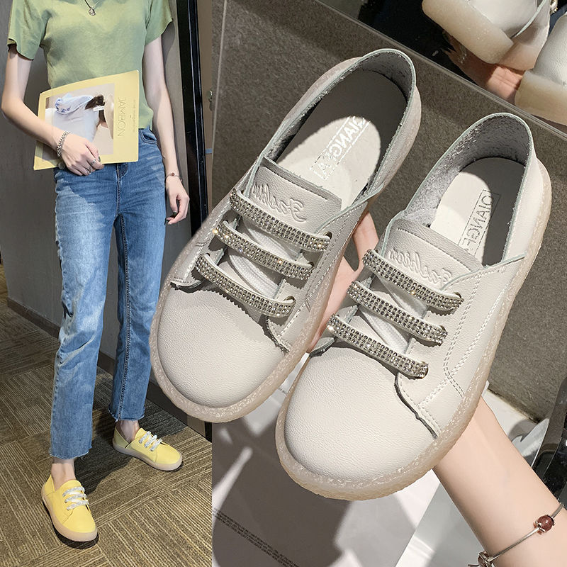 Sexy Rhinestone Ladies Sneakers Leather Shoes Women 2020 Luxury Brand Woman's Leather Sneakers