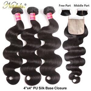 Image 3 - Nadula שיער ברזילאי גוף גל חבילות עם סגירת 4*4 סגירת תחרה ברזילאי שיער Weave חבילות עם סגירת שחור שישי