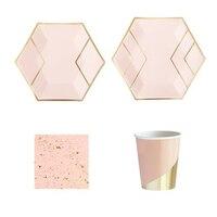 68 шт./компл. розовое золото одноразовая посуда одежда для свадьбы, Дня Рождения Розовое бумажные тарелки и стаканы для салфеток Baby Shower Декор ...