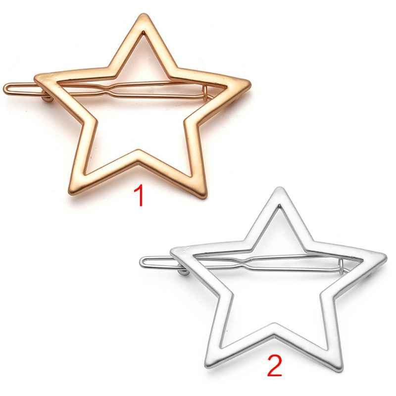 Minimalist Minimalist ผู้หญิงโลหะด้านข้าง Bangs คลิปผมโลหะ Smooth Glitter Hollow OUT FIVE-Pointed Star Hairpins