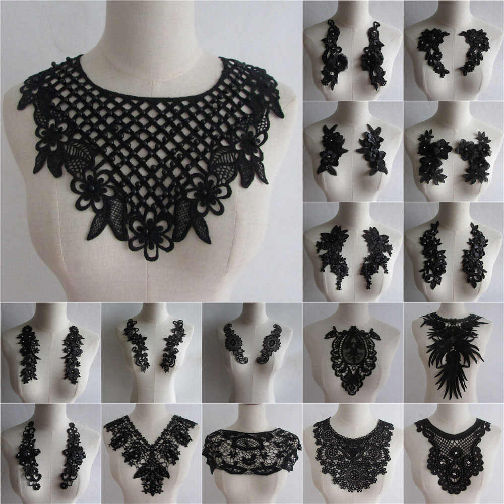 High Quality ABS Pearl Lace Collar Embroidery Sewing Applique DIY Hollow Lace Neckline Decorative Clothing Accessories
