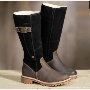 Large Size 41 42 43 Winter Boots Women Pu Leather Waterproof Flock Suede Fur Lined Solid Color Plush Lining Lady Warm Boots High 20