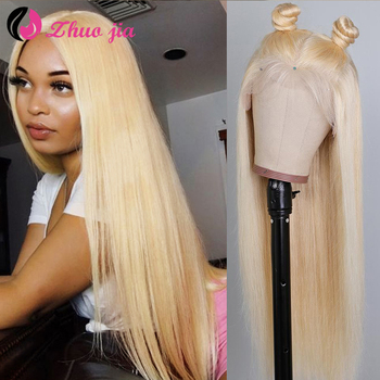 613 Blonde Lace Front Human Hair Wigs 13X4 Transparent Lace Frontal Wig Straight Human Hair Wig Full Blonde Lace Front Wig #1B image