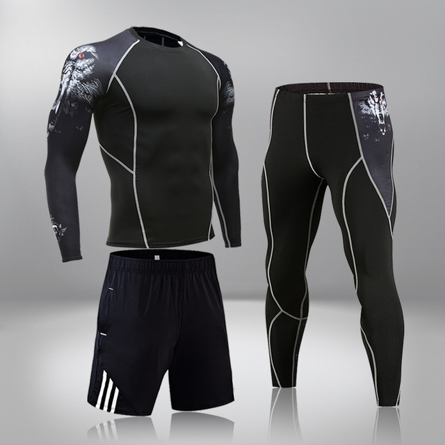 High-End Men's Brand Sports Riding 3 Set MMA Tactical Leggings Solid Color Clothing Compression Fitness Long Johns Winter Suit 3