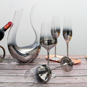 Crystal  Electroplated Silver Gray Gradient American  Metallic Wine Glass Set  1